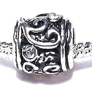 Charm Buddy © Silver Plated Clear Rhinestone Spacer Bead Fits Pandora/Troll /Chamilia Bracelets #834