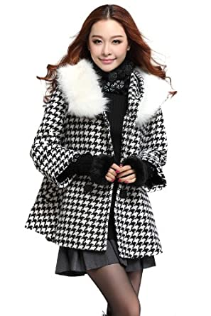 farleen en solde manteau veste laine capuche col fourrure manche longue blouson ski hiver. Black Bedroom Furniture Sets. Home Design Ideas