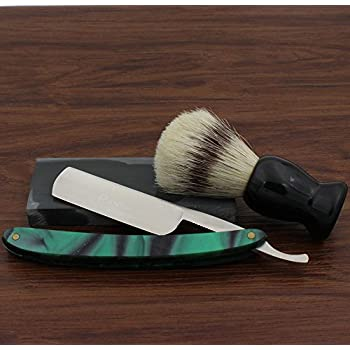 Vintage Design Barber Cut Throat Green Acrylic Handle Straight Razor Widen Stainless Steel Blade Bristle Brush Natural Water Hone Sharpen Stone Sharpener Gift Set Manual Wet Shaving Kit
