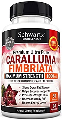 Appetite Suppressant Pure Caralluma Fimbriata Extract 1000mg All Natural Weight Loss Pills to get Slim Fast - Extreme Carb Blocker and Fat Burner (60 capsules) Made in USA - 100% Money Back Guarantee
