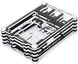 Clara Cáscara Caja Negra Cuadra de Acrílico para Raspberry Pi B y Raspberry Pi 2(Se puede instalar ventilador dentro)