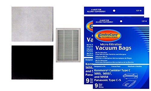 18 Kenmore Canister Type C Canister Vacuum Bags, (& 2 CF1 Filters & 1 EF2 filter) (Kenmore Progressive Hepa Vacuum compare prices)