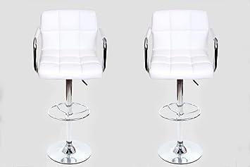2x sgabello da bar bianco Finta pelle ruotabile regolabile in altezza imbottito