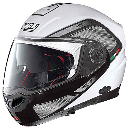 Nolan-N104-Absolute-Tech-moto-Modular-policarbonato-N-COM-Casco-color-blanco-metal