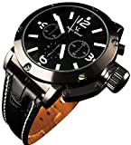 YouYouPifa® Sport Style Black Dial Leather Strap Men's Quartz Wrist Watch (White)