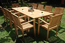 "Big Sale Best Cheap Deals New 11 Pc Luxurious Grade-A Teak Dining Set -117"" Rectangle Table And 10 Stacking Leveb Arm Chairs"