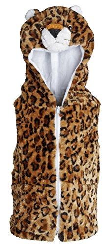 Winter Wear Girls Faux Fur Trendy Leopard Print Winter Vest with Animal Hood – Leopard (Medium) Reviews
