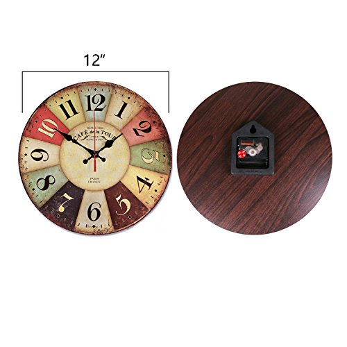 Wood Wall Clock, NALAKUVARA Vintage Colorful France Paris French Country Tuscan Retro Style Arabic Numerals Design Non -Ticking Silent Quiet Wooden Clock Gift Home Decorative for Room, 12-Inches 1