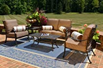 Big Sale The Herve Collection 5-Piece All Welded Cast Aluminum Patio Furniture Deep Seating Set With Loveseat