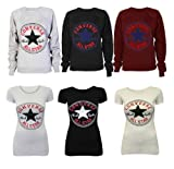 NEW LADIES WOMEN CONVERSE ALL STAR LOGO PRINT SWEATSHIRT AND T SHIRT AND VEST TOP UK SIZE 8-14