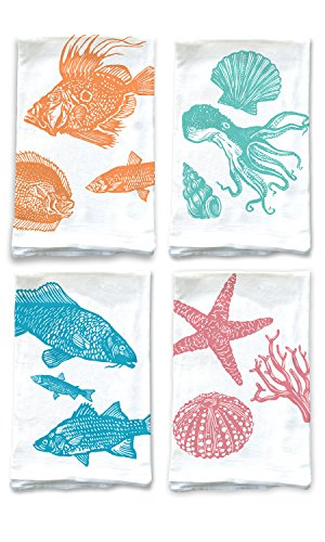 Rigel Stuhmiller Ocean Themed 4-Pack Assortment Sea Kitchen Screenprinted 100% Cotton Flour Sack Dish Towels (Salt Water Taffy Machine compare prices)