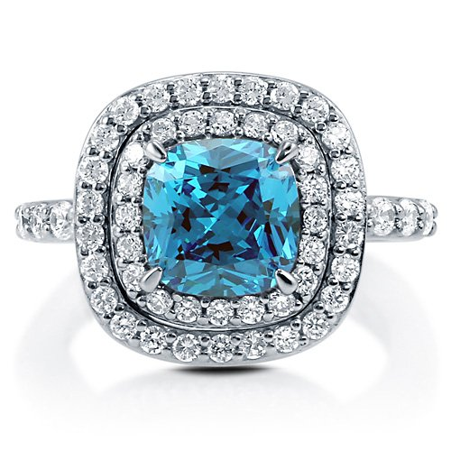 Cushion Blue Topaz Cubic Zirconia CZ Sterling Silver Halo Ring 2.04 Ct - Nickel Free Engagement Wedding Ring Size 4