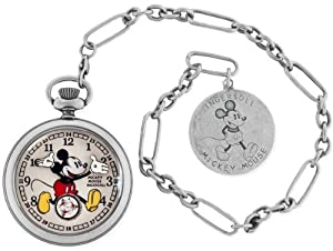 Ingersoll Unisex IND 25834 Ingersoll Mickey Mouse 30's Collection Silver Pocket Watch