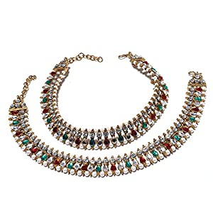 Anklet Branded Multi AD New Pave Stylish Fashion Real Diamond Look Beauty Natural Payal