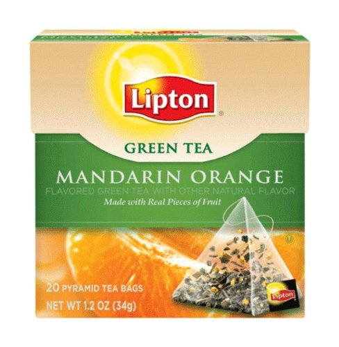 Lipton Green Tea, Mandarin Orange, Premium Pyramid Tea Bags, 20-Count Boxes (Pack of 6)