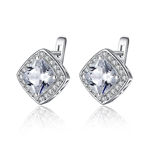 Bamoer 2014 White Gold Plated Brass Stud Earrings Aaa Cubic Zircon Women Jewelry