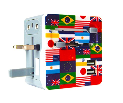 All In One Universal Travel Adapter With 2 Dual USB Ports - Can Be Used As USA Adapter, UK Adapter, European Adapter, Australian Adapter, & Universal Plug Converter for 150+ International Countries (Plug Converters compare prices)