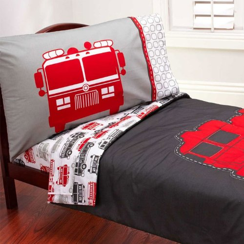 Carter'S 4 Piece Toddler Bed Set, Fire Truck front-2580