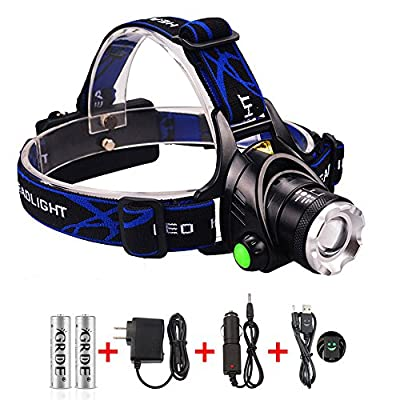 1800 Lumens 3 Modes Zoomable 3-in-1 Multi-Function CREE XML T6 Waterproof Led Headlamp + 2 X 18650 Rechargeable Batteries +Wall Charger+Car Charger+ Headlight Special USB Cable ; Suitable for Working ,Camping, Hunting, Running, Fishing, Reading