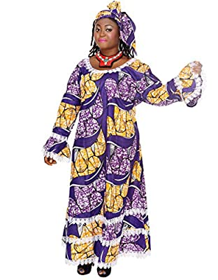 African Planet Women's 2 Pc Dress Purple Ethnic Nigerian Lace Flared Hem