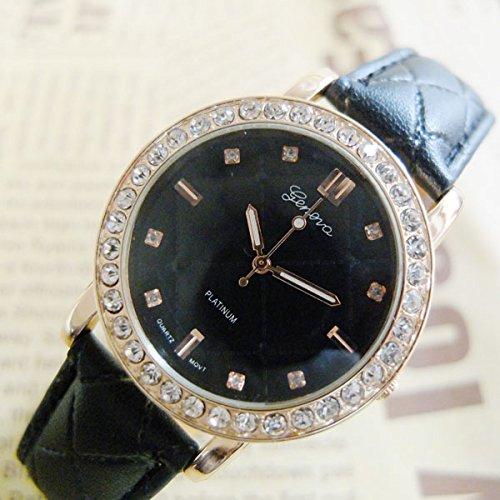U-Beauty Fashion Unisex Men Women Lady Girls Rhinestone Leather Watches Quartz Wristwatch (Black)