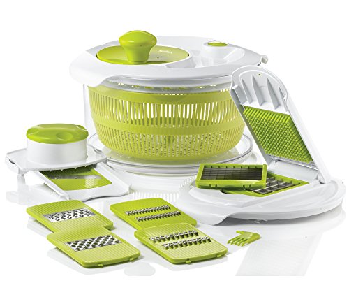 Sunkist SAP3773G Salad Spinner with Mandoline and Chopper, Green