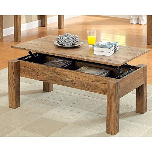 Furniture Of America Furniture Of America Elize Lift-Top Storage Coffee Table - Weathered Elm, Brown, Wood Top front-576929