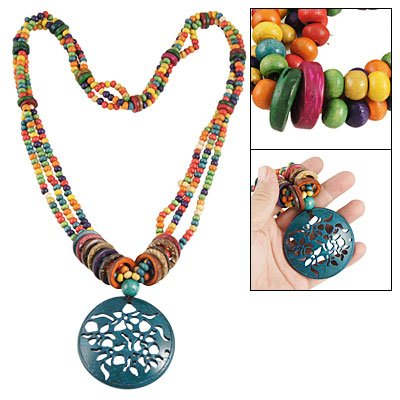 Rosallini Blue Hollow Out Flower Pendant Tibetan Style Necklace