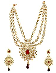 Traditional Reverse AD Necklace Set In Ruby Color