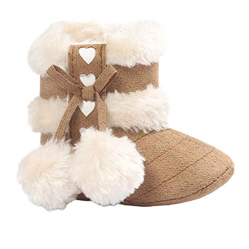 Voberry® Baby Toddler Girls Knit Soft Winter Warm Snow Boot Fur Trimmed Pom Pom Boots (0~6M, Khaki)