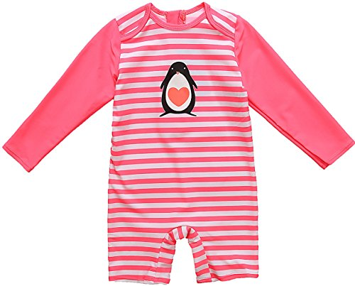Kids All-in-One Sun Protection Wetsuit Baby Girl Rash Guard Long Sleeve Swimwear,Pink(Fulfilled By Amazon),3-6 Months