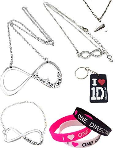 One Direction 10 pezzo regalo set. Collane, bracciali e portachiavi in scatola cuscino