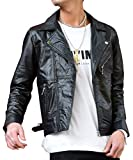 ルービック(RUBIK) ライダースジャケット メンズ ライダース レザー リサイクルレザー 革ジャン 本革 ダブル シングル L(ダブル) ブラック