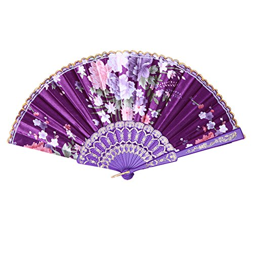 Weixinbuy Chinese Summer Folding Hand Fan Fabric Floral Wedding Party Favor Pocket Fan (Purple)