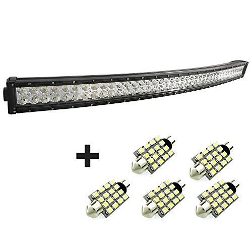 288W 50 Inches Curved Long Led Work Lights Bar Combo Beam For Jeep Cabin/Boat/Suv/Truck/Car/Atv/Vehicles/Automative/Jeep/Marine Off-Road Bulb Lamp Light Fog Lighting Exterior+Free 5Pcs 42Mm 16Smd Led Light Bulb.