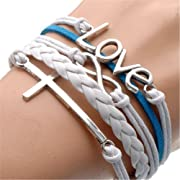 HUMASOL Bronze Infinity Lady Retro Knit Cross Love/Rudder Anchor/Love Charms Suede Wrap Bracelet Gift