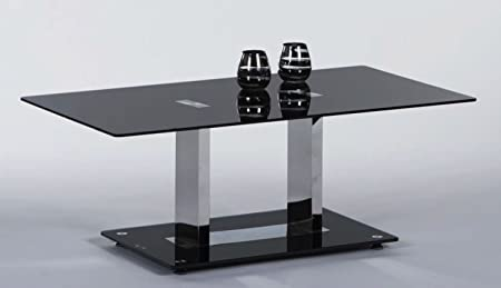 Couchtisch 110 x 60 cm Glas schwarz/ Chrom