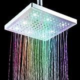 """Andoer soffione 8 """"pollice quadrato 7 colori che cambiano LED Doccia Testa di spruzzatore per il bagno per renderlo fantastico."""