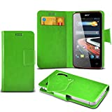 (Green) Acer Liquid Z2 Protective Mega Thin Faux Leather Suction Pad Wallet Case Cover Skin With Credit/Debit Card Slots Aventus