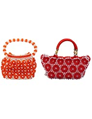 Virali Rao Women's Hand-held Bags Combo, Orange And White, Red
