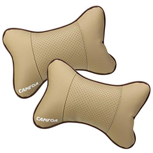 CAMTOA 2PCS Car Neck Pillow (Soft Version) Lovely Breathe Car Auto Head Neck Rest Cushion Headrest Pillow Pad Beige (Neck Pillow For Car compare prices)