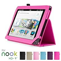 "GMYLE(TM) Hot Pink PU Leather Slim Folio Magnetic Flip Stand Case Cover with Wake Up Sleep Function for Barnes & Noble Nook HD+ Plus 9 "" inches Tablet from GMYLE"