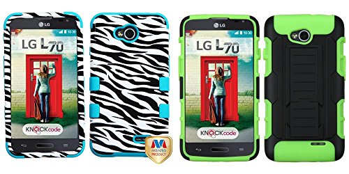 Combo Pack Mybat Zebra Skin/Tropical Teal Tuff Hybrid Phone Protector Cover For Lg Ms323 (Optimus L70) Lg Vs450Pp (Optimus Exceed 2) And Asmyna Black/Electric Green Car Armor Stand Protector Cover (Rubberized) For Lg Ms323 (Optimus L70) Lg Vs450Pp (Optimu