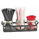 12.75W x 5D x 5.75H 3 Jar Straw and Stir Stick Holder Black 1 Ct