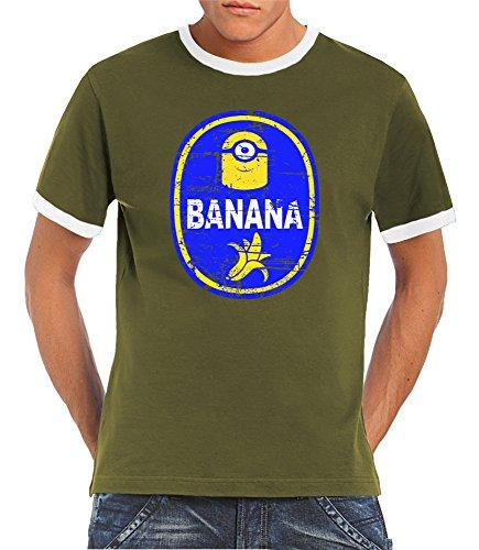 Touchlines-Camiseta-Manga-Corta-para-hombre-Caqui-Blanco-XXX-Large
