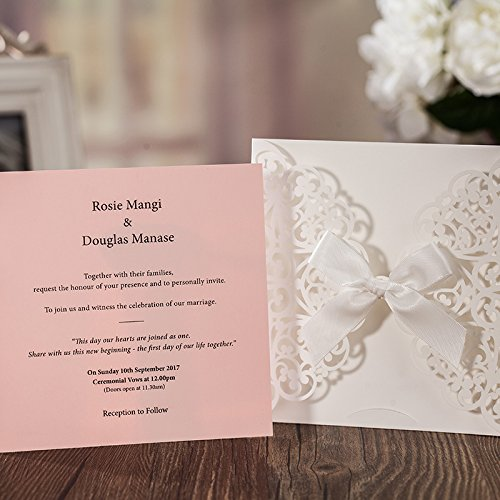 JOFANZA 50x White Square Laser Cut Wedding Invitations Cards with Bow Lace Sleeve Invitations for Engagement Baby Shower Birthday Quinceanera (set of 50pcs) CW6177 3