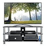 1home 120 cm GT5 Glass TV Stand for 32-70-Inch Plasma/LCD/LED/3D Television - Black, width 120cm