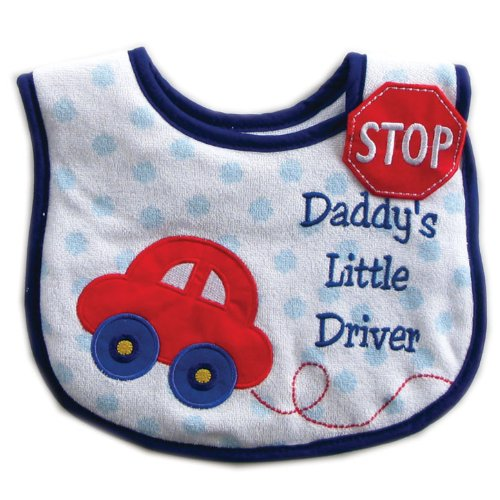 Luvable Friends Applique Side Closure Bib, Blue