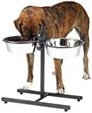 ProSelect Stainless Steel Adjustable Dog Diner Bowl, 5-Quart, Black