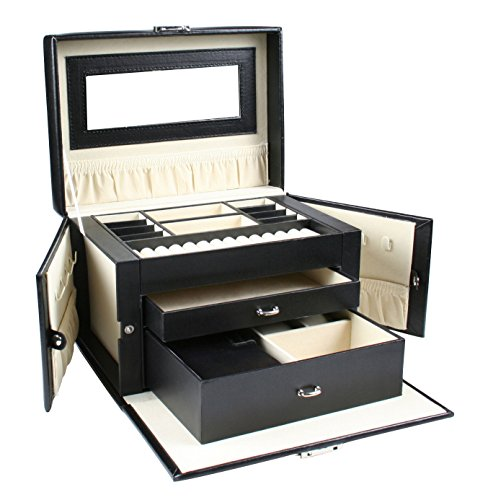 Black Leather Jewelry Box Travel Case And Lock By Kendal